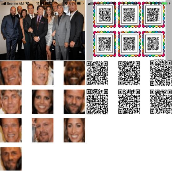 Detect and crop faces barcodes and texts in image