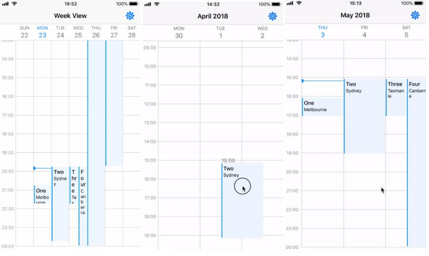 iOS Calendar Week/Day View in Swift