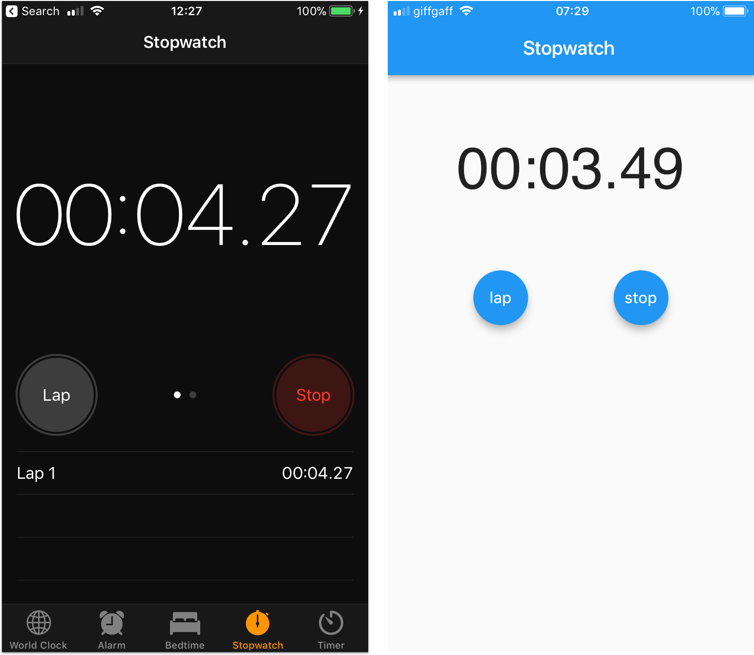 Sample stopwatch app built in Flutter