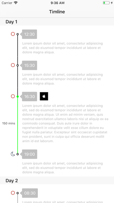 A simple timeline view implemented by UITableViewCell