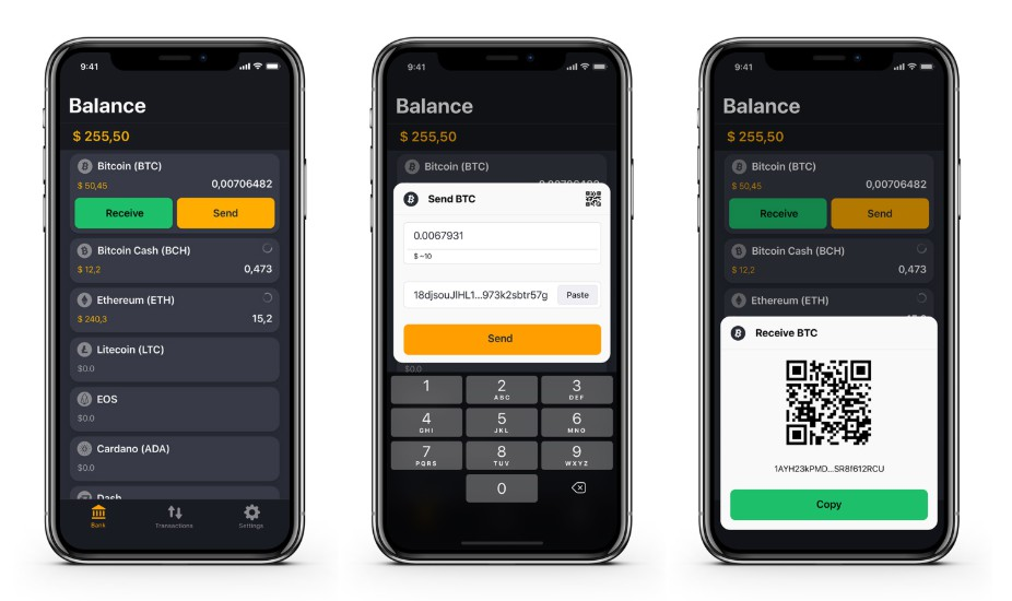 A secure and a fully decentralized crypto wallet app