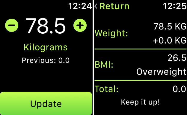 A Weight Logger for Apple Watch