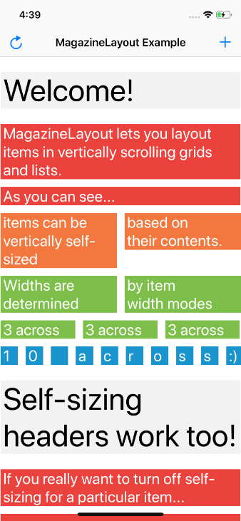 A collection view layout capable of laying out views in
