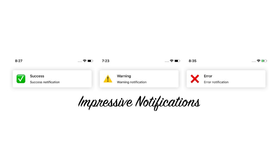 ImpressiveNotifications are custom in-app notifications with 3 types of layouts