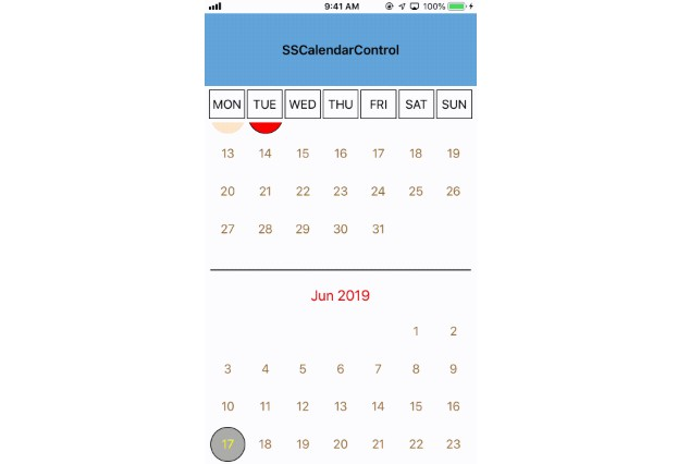 Small and highly customizable calendar control written in swift