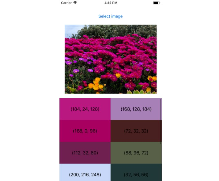 Color palette generation from image written in Swift