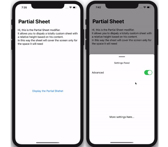 A custom SwiftUI modifier to present a Partial Modal Sheet