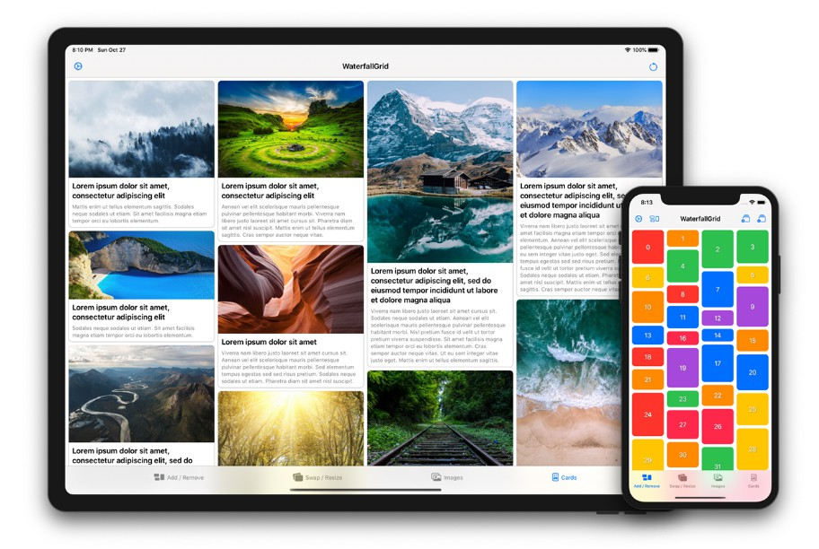 A waterfall grid layout view for SwiftUI