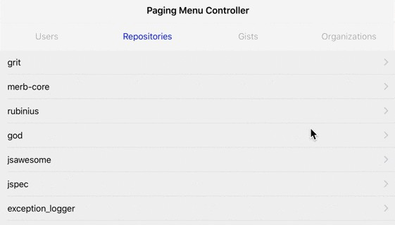 Paging view controller with customizable menu in Swift