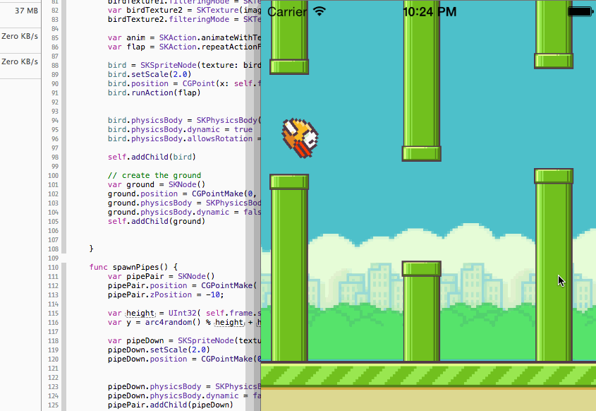 An implementation of Flappy Bird in Swift for iOS 8