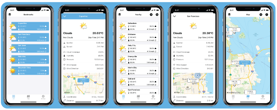 A simple open-source weather app for iOS that uses the OpenWeatherMap API