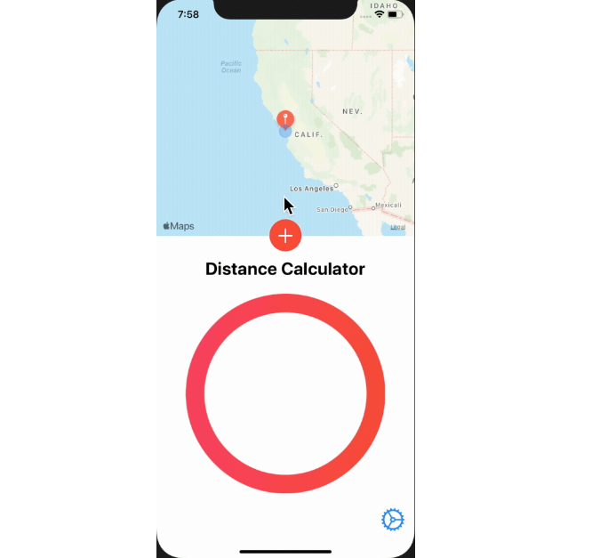 An app calculates how many kilometers between two locations
